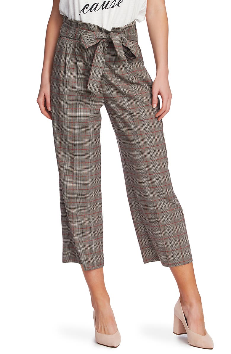 1.STATE Plaid Paperbag Waist Crop Pants, Main, color, 006