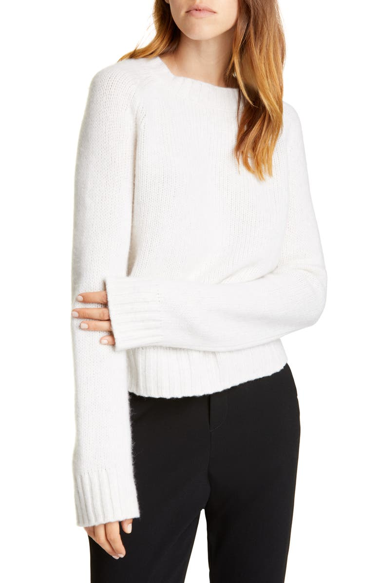 VINCE Shrunken Mock Neck Cashmere Sweater, Main, color, HEATHER WHITE