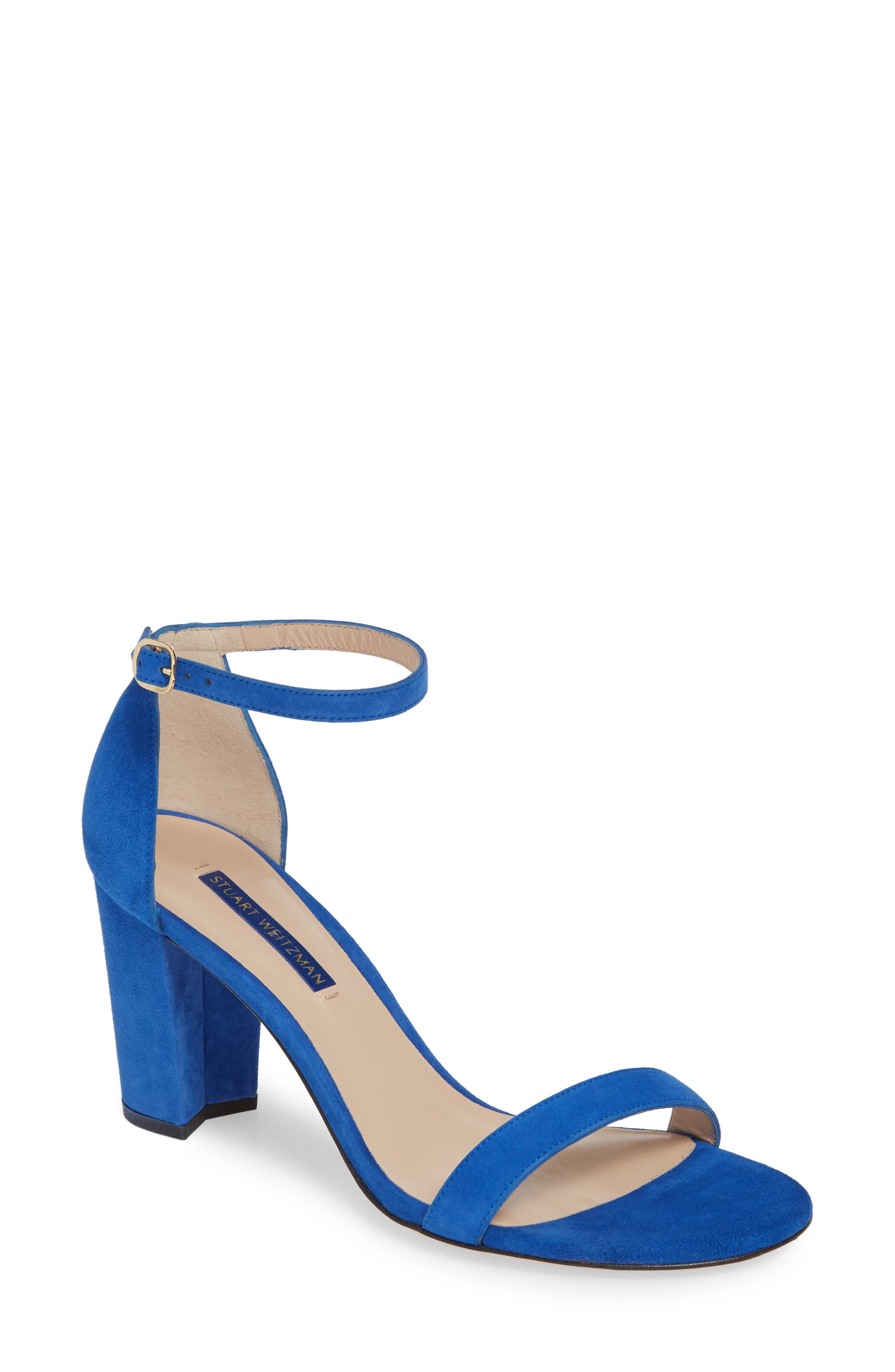 Stuart Weitzman Nearlynude Ankle Strap Sandal, Blue