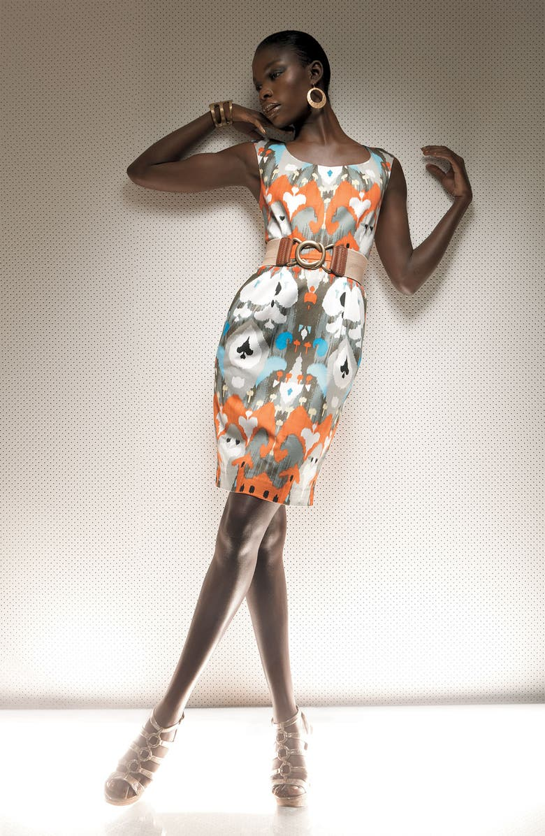 MAGGY LONDON Ikat Cotton Sateen Sheath Dress, Main, color, BLACK