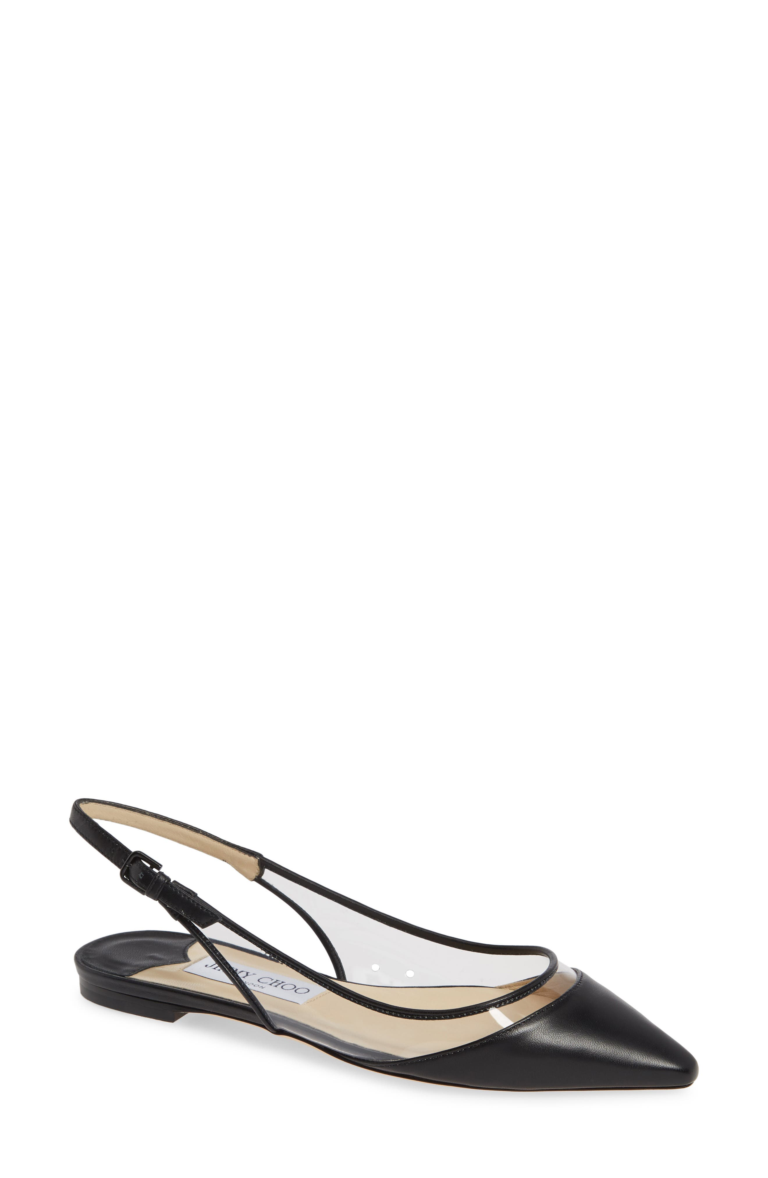 Jimmy Choo Erin Clear Slingback Flat, Black