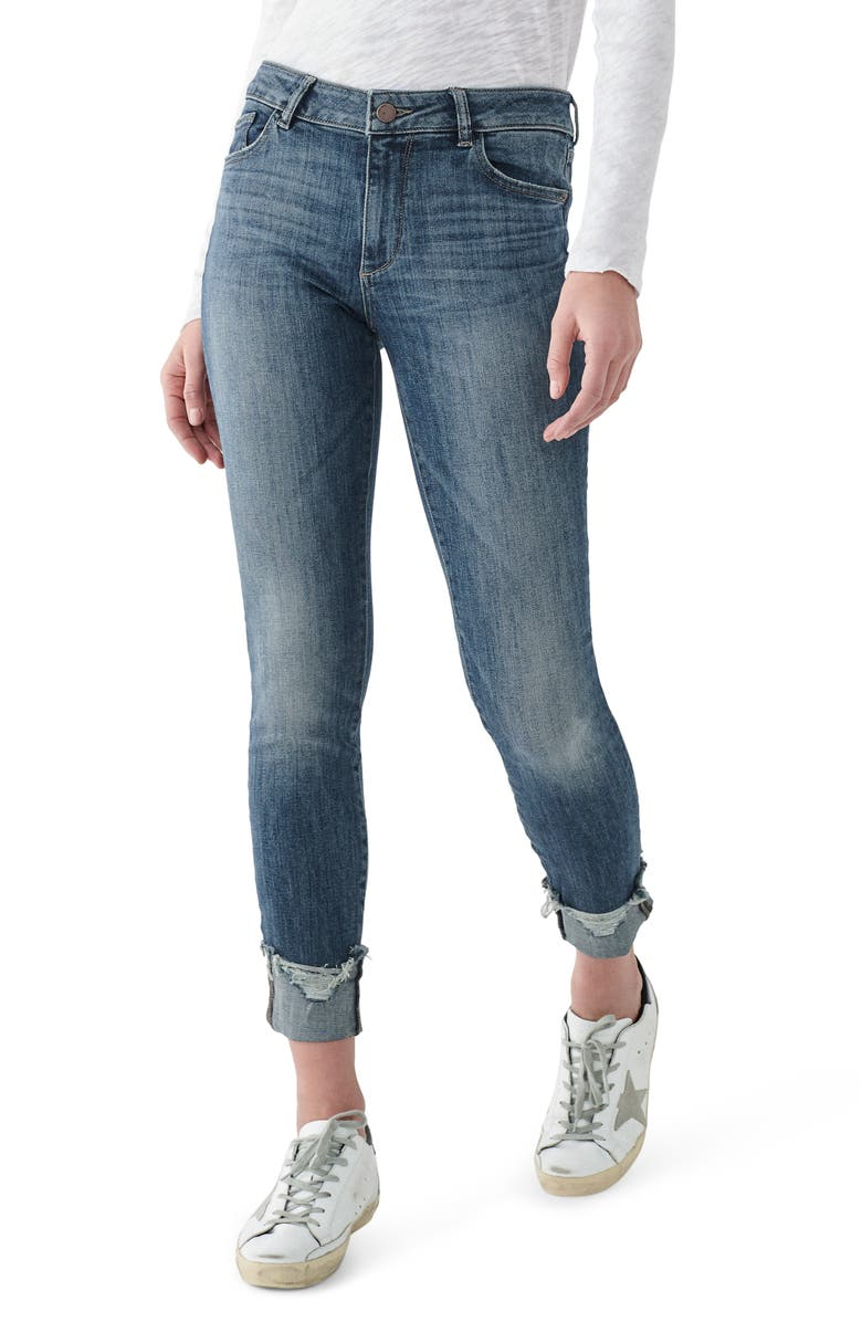 DL1961 Instasculpt Florence Ripped Ankle Skinny Jeans, Main, color, MOORE