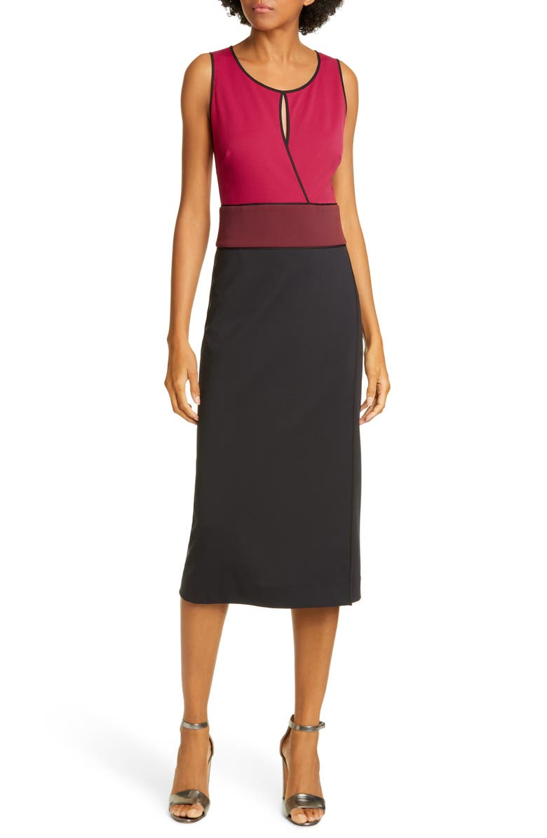 DVF Joanne Colorblock Sleeveless Sheath Dress, Main, color, BLACK/ RAISIN/ MAGENTA