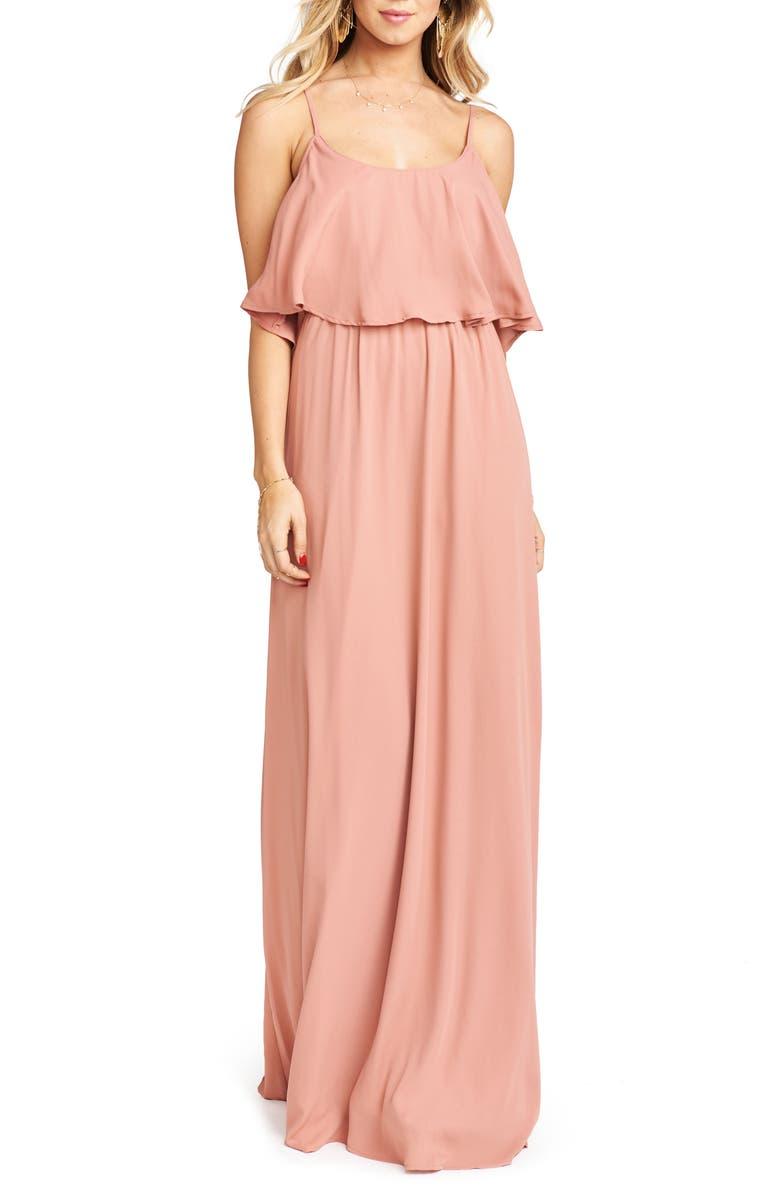 SHOW ME YOUR MUMU Caitlin Cold Shoulder Chiffon Gown, Main, color, RUSTIC MAUVE