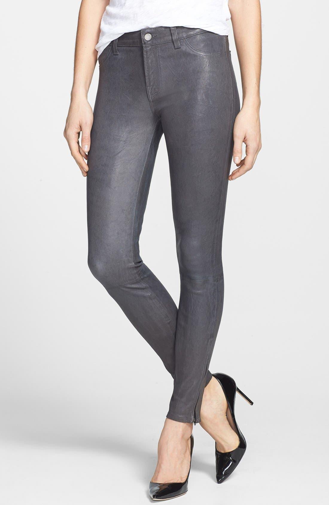 ,                             '8001' Lambskin Leather Pants,                             Main thumbnail 49, color,                             027