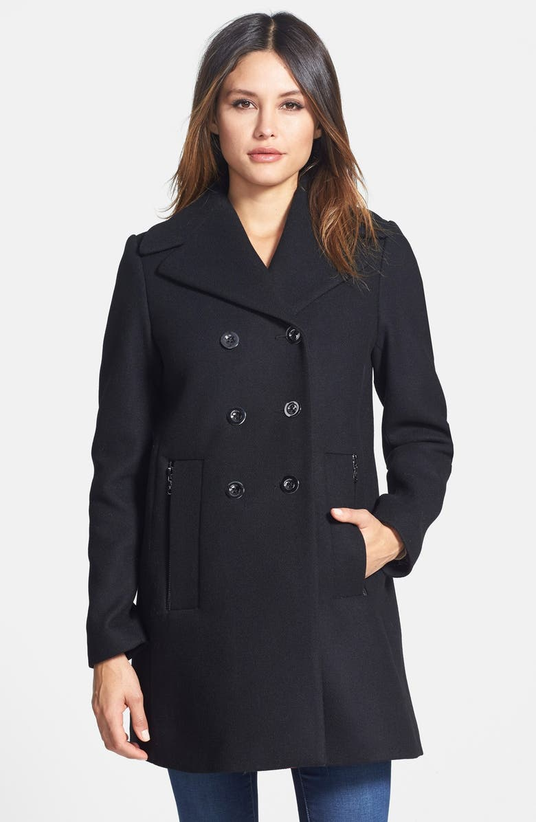 TRINA TURK 'Bethany' Wool Blend A-Line Peacoat, Main, color, 001