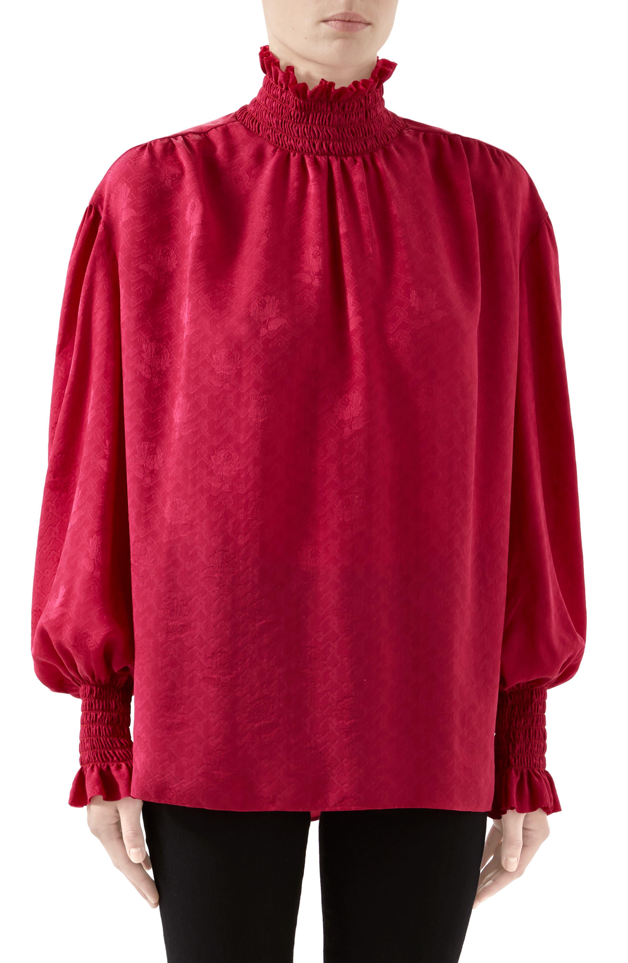 Gucci Tops Rose Jacquard Silk Blouse
