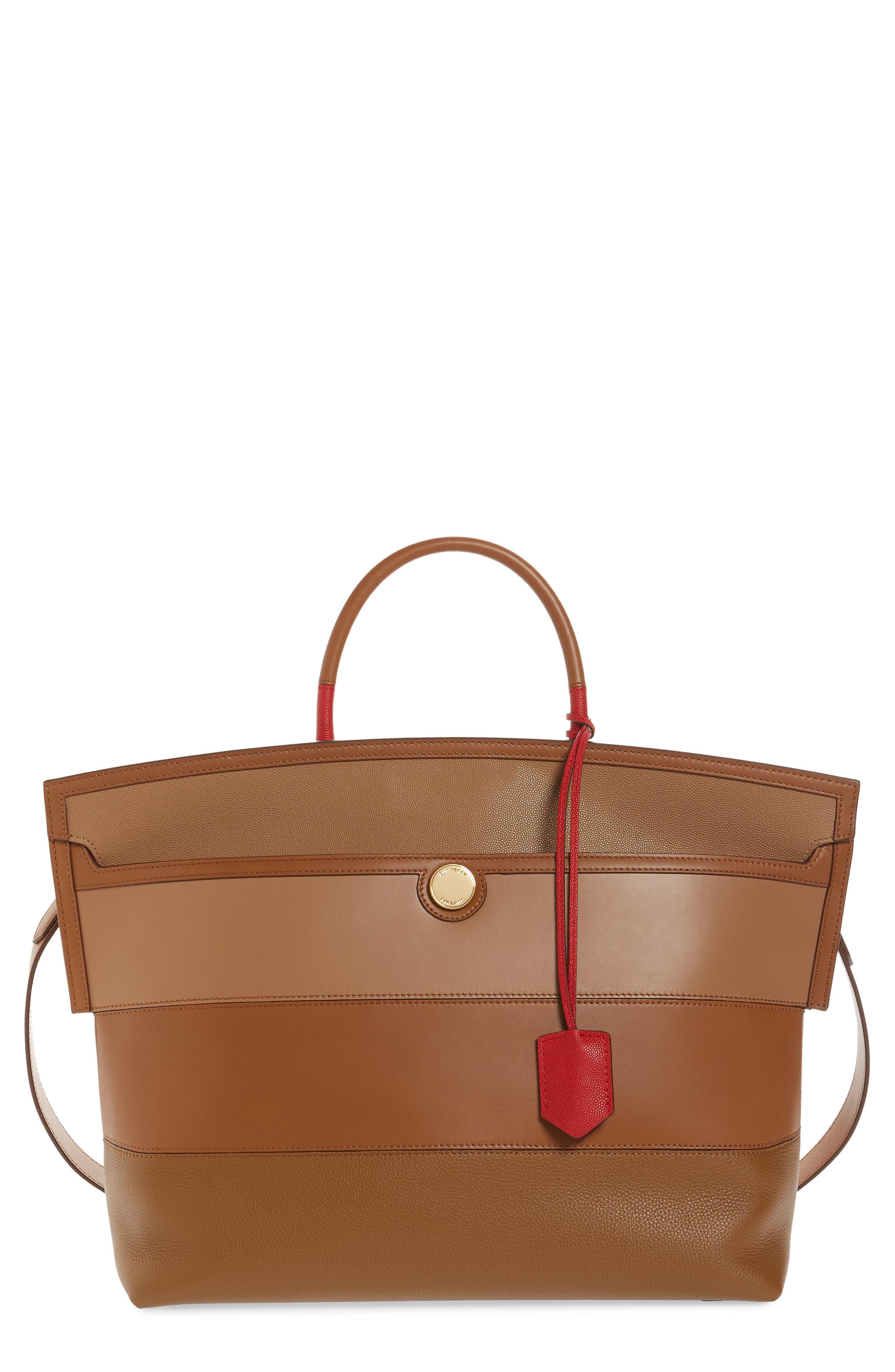 Burberry Bags Medium Society Colorblock Stripe Leather Top Handle Bag