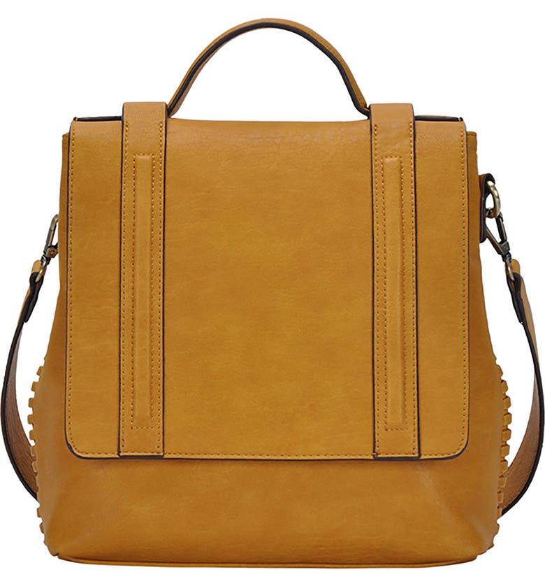 ANTIK KRAFT Convertible Faux Leather Messenger Bag, Main, color, MUSTARD