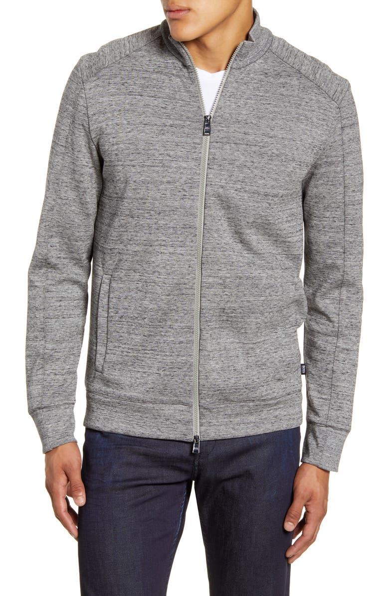 BOSS Shepherd Regular Fit Fleece Jacket, Main, color, SILVER