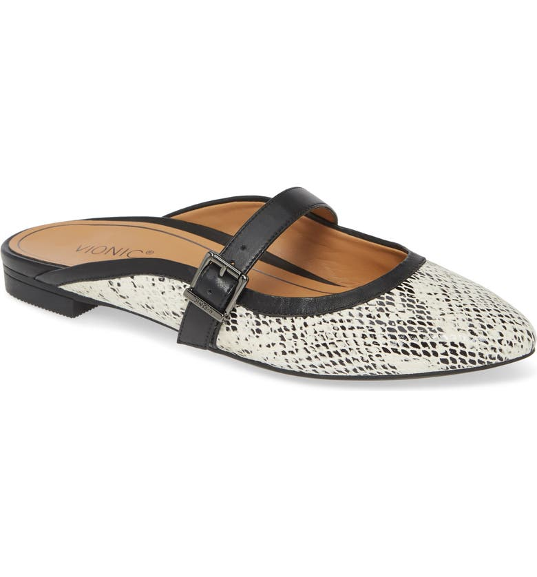 VIONIC Esme Mule, Main, color, WHITE/ BLACK SNAKE PRINT