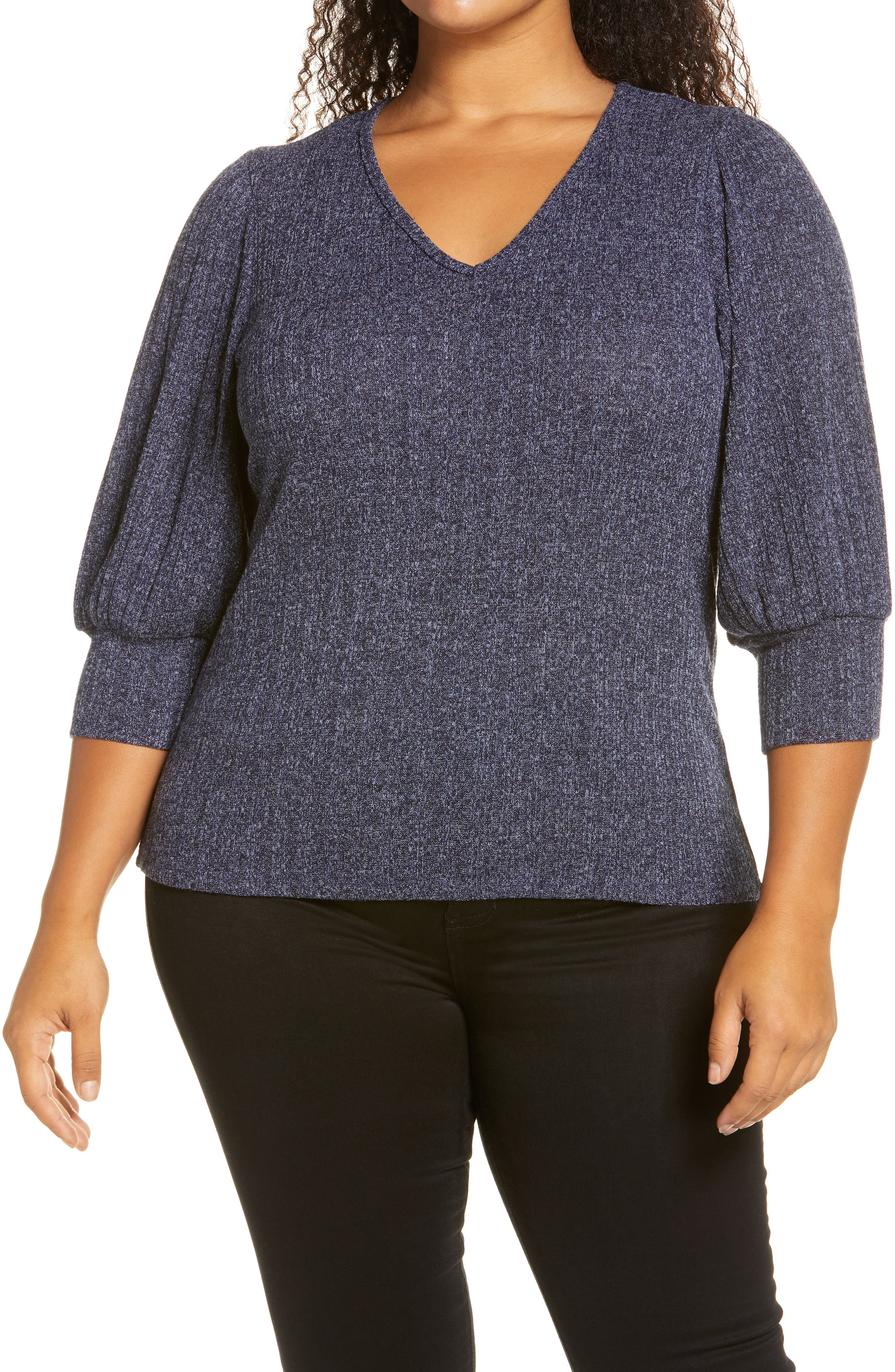 Sparkling metallic shimmer elevates this day-to-night pullover styled with lightly billowed three-quarter sleeves. Style Name: Bobeau Balloon Sleeve Metallic Knit Top (Plus Size). Style Number: 6106011. Available in stores.