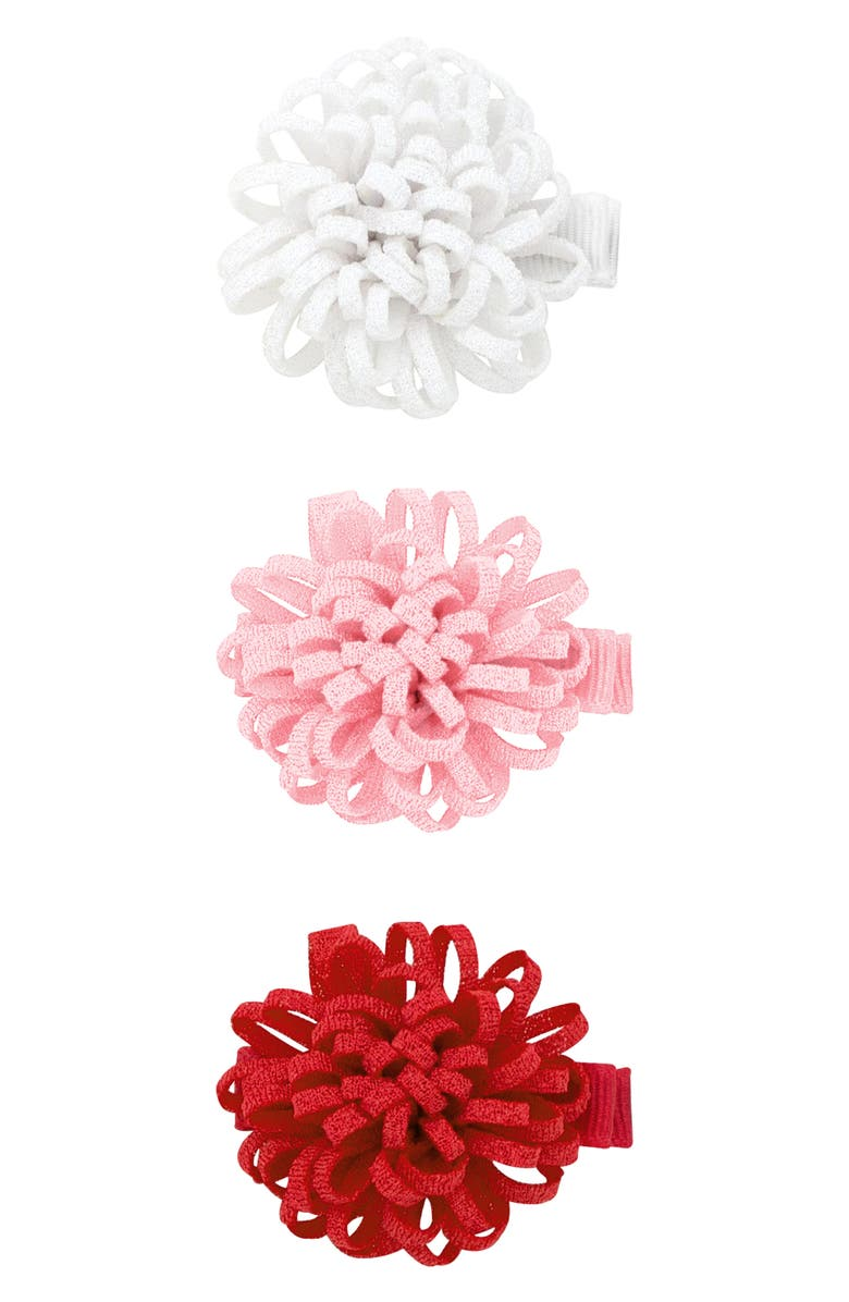 PLH BOWS 3-Pack Loopy Puff Hair Clips, Main, color, WHITE/ LIGHT PINK/ RED