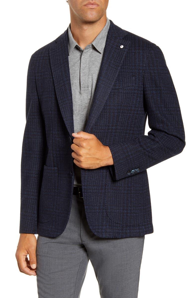 L.B.M. 1911 Trim Fit Plaid Stretch Cotton Blend Sport Coat, Main, color, BLUE