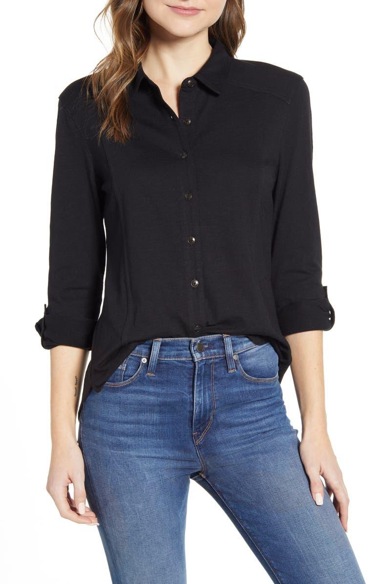 CASLON<SUP>®</SUP> Roll Sleeve Knit Shirt, Main, color, BLACK
