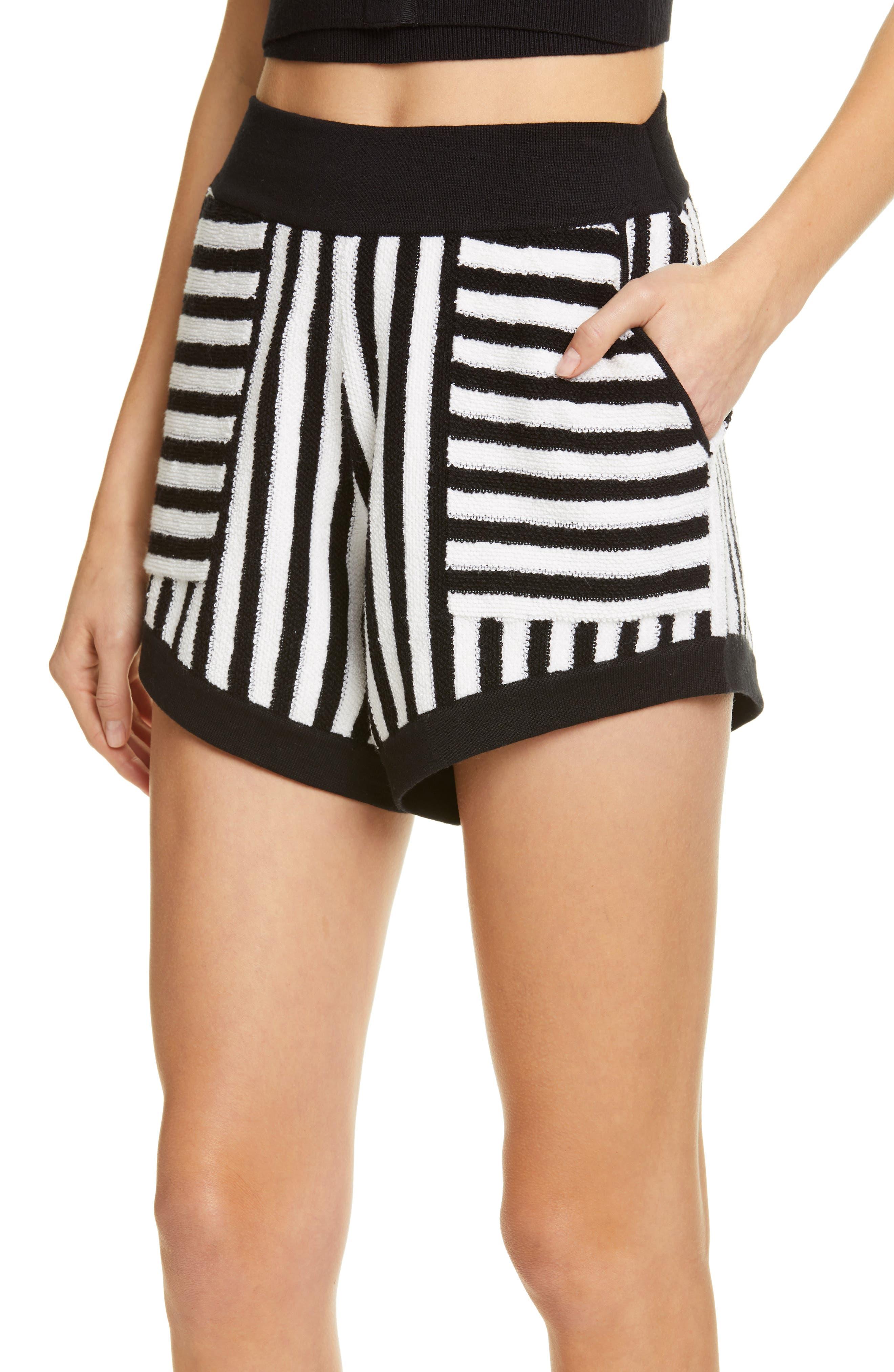 ,                             Striped Cotton & Cashmere Shorts,                             Alternate thumbnail 4, color,                             WHITE/ BLACK COMBO