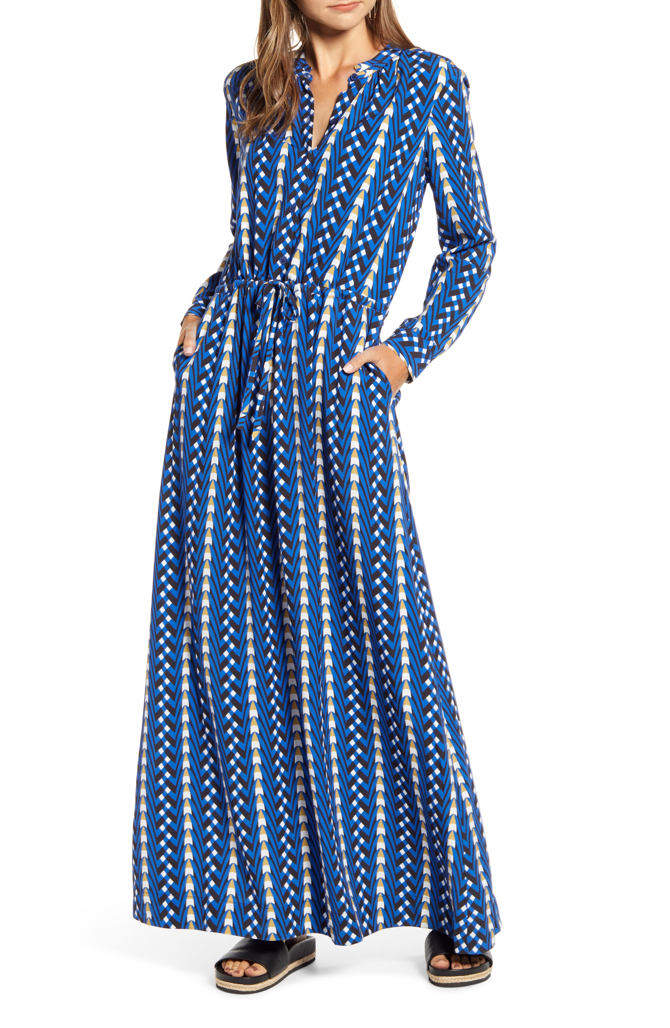 70s Prom, Formal, Evening, Party Dresses Womens The Odells Long Sleeve Button Maxi Dress $298.00 AT vintagedancer.com