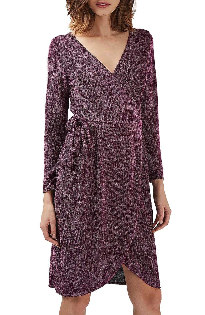 TOPSHOP Glitter Wrap Dress, Main, color, 650