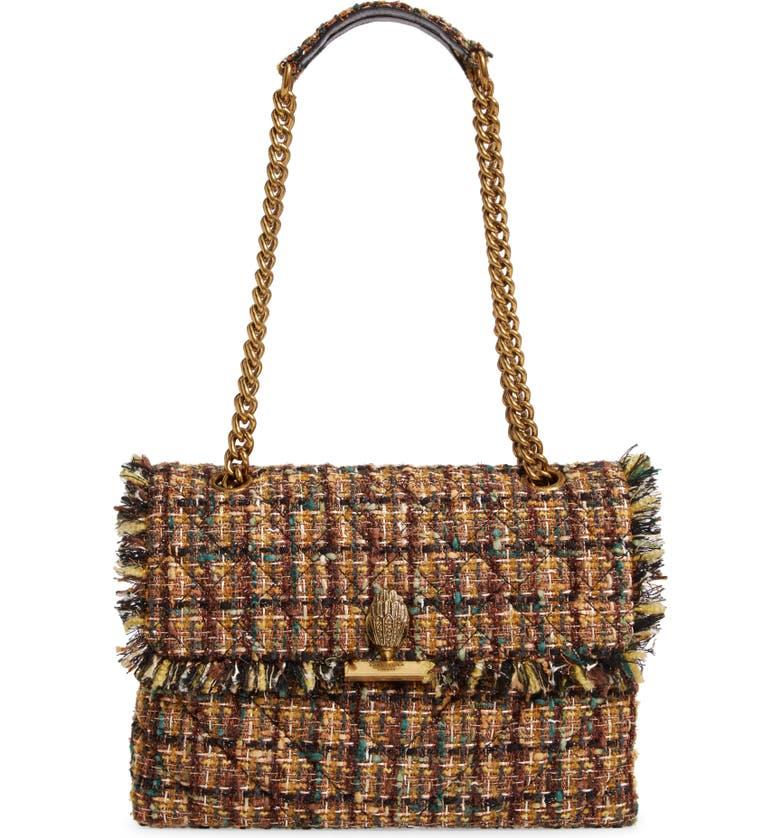 KURT GEIGER LONDON Large Kensington X Tweed Shoulder Bag, Main, color, RUST