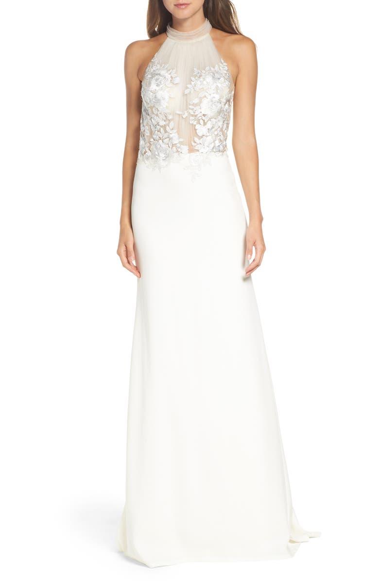 TADASHI SHOJI Embroidered Halter Trumpet Gown, Main, color, IVORY