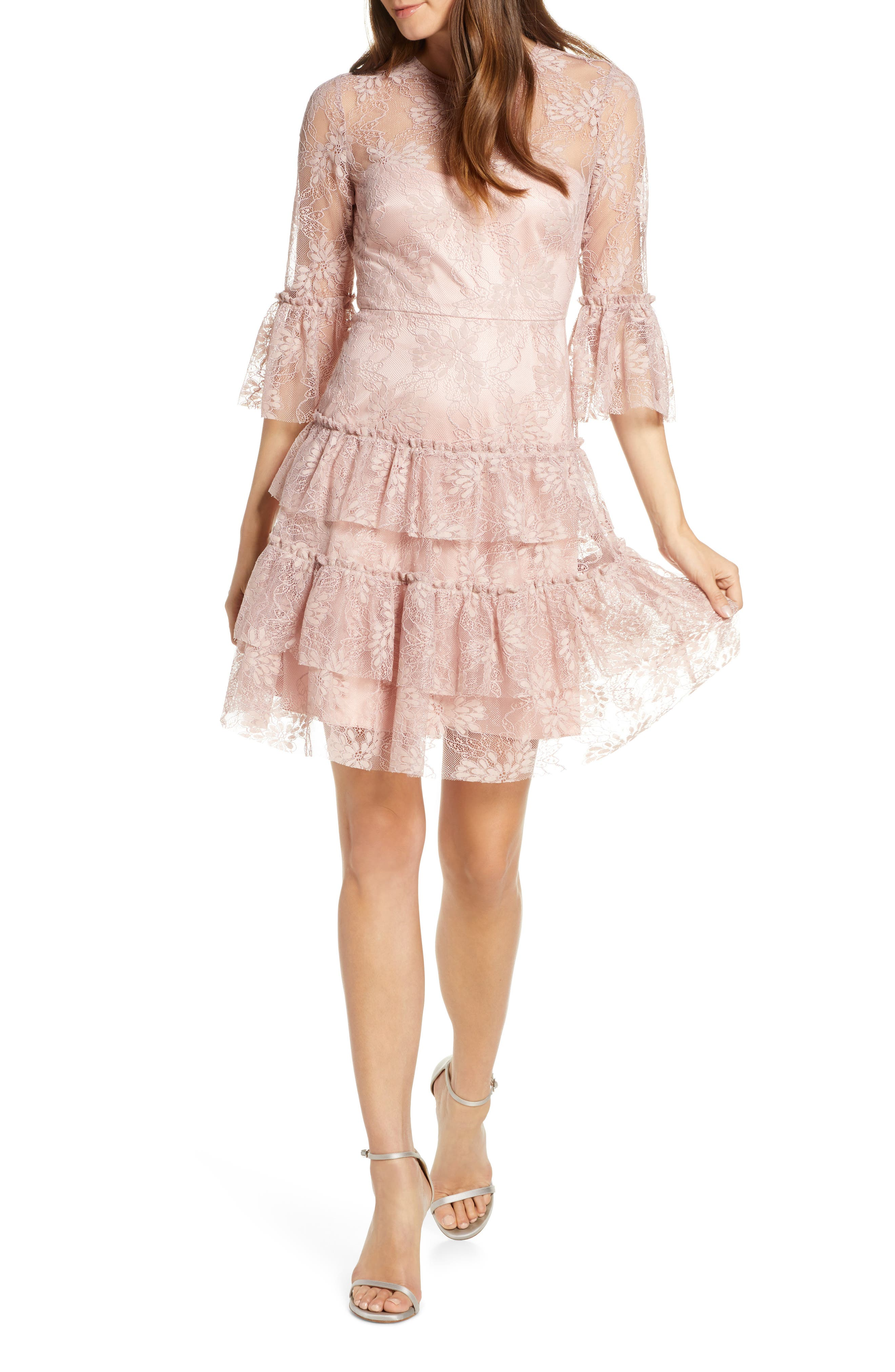 Eliza J Bell Sleeve Embroidered Lace Ruffle Dress, Pink