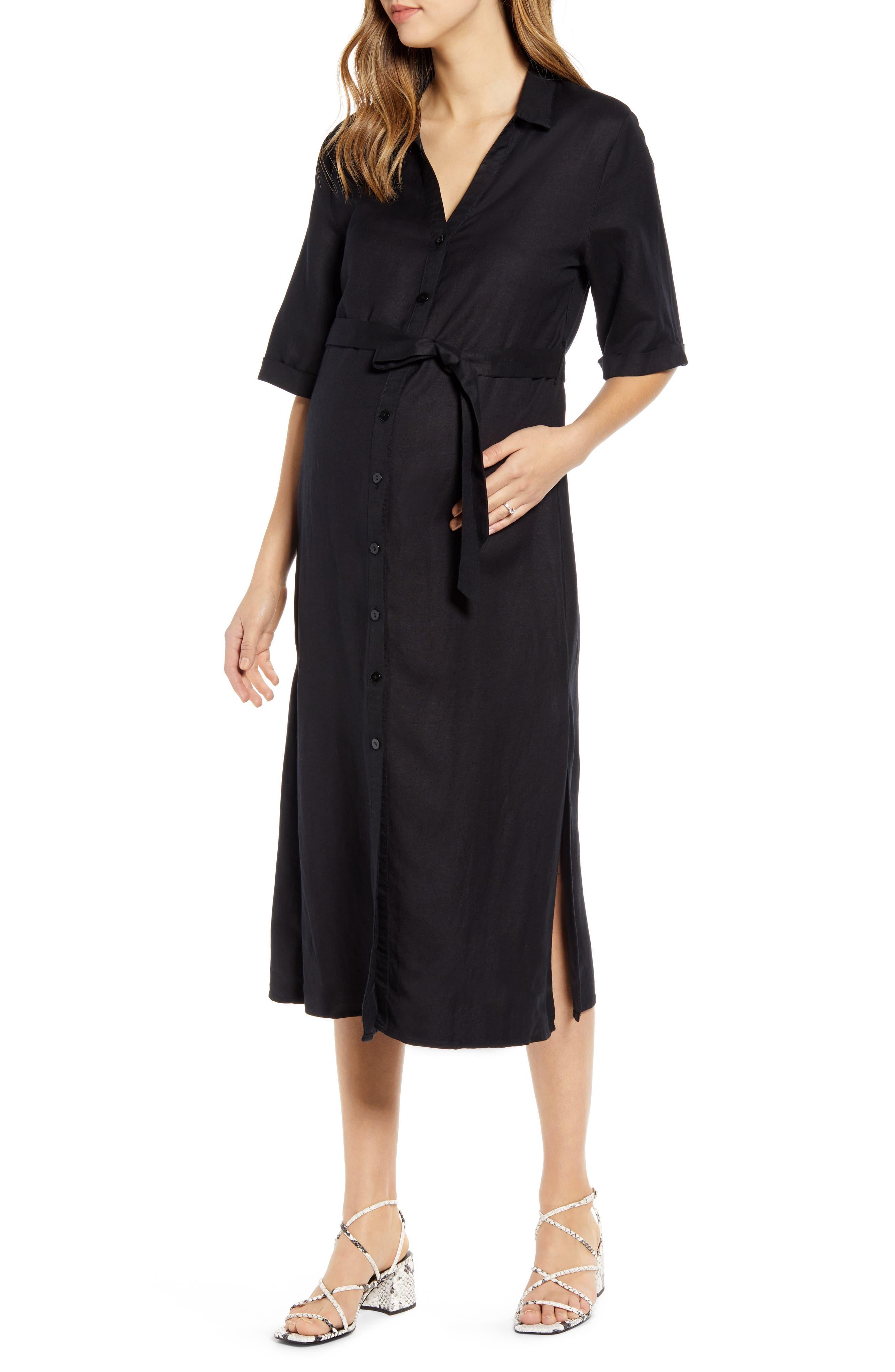 Tie Waist Linen Maternity/nursing Dress
