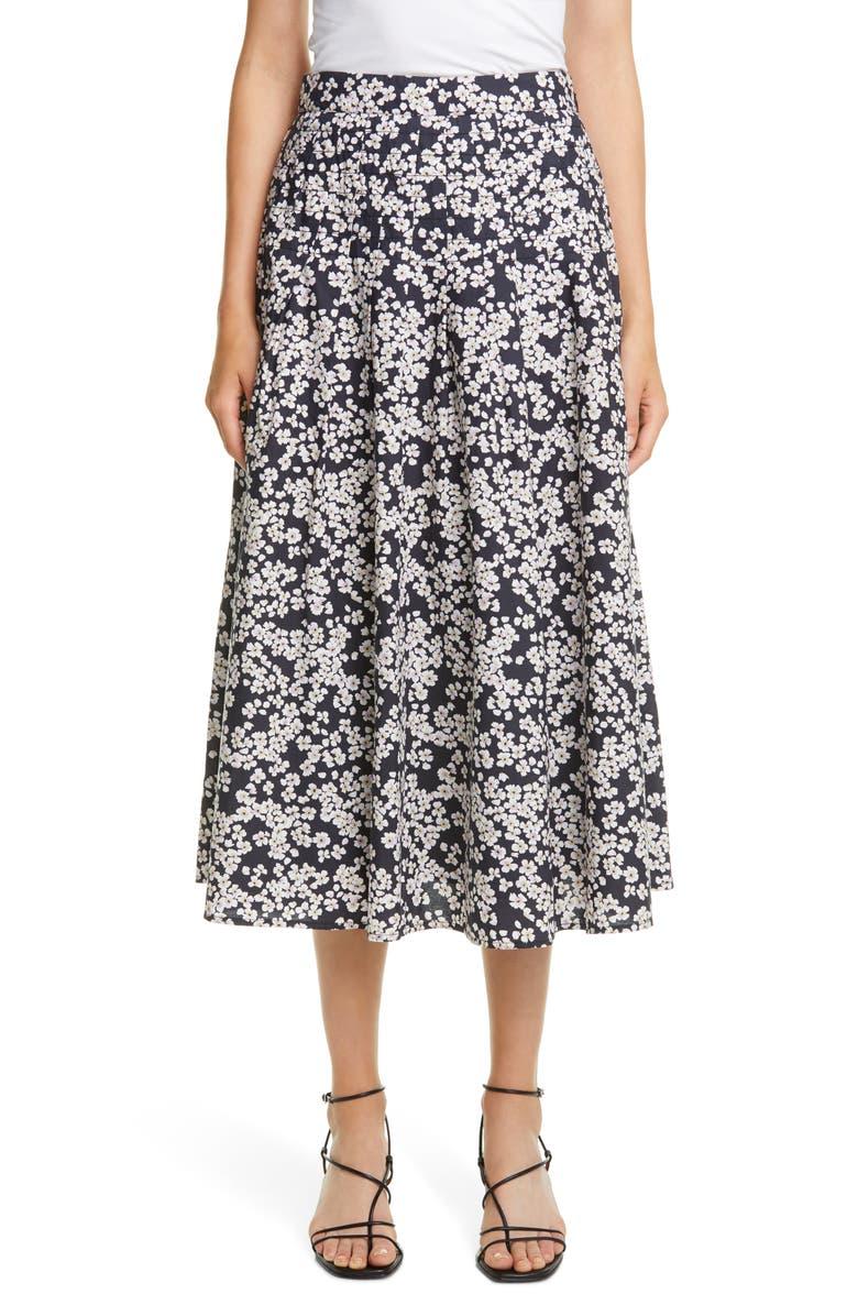 MERLETTE Harper Floral Pleated A-Line Midi Skirt, Main, color, BLACK/LAVENDER PRINT