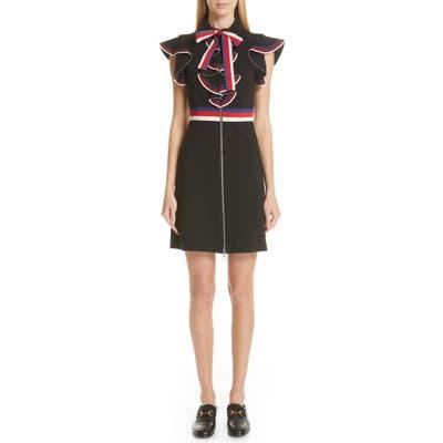 Gucci Sylvie Web Ruffle Stretch Jersey Dress, None