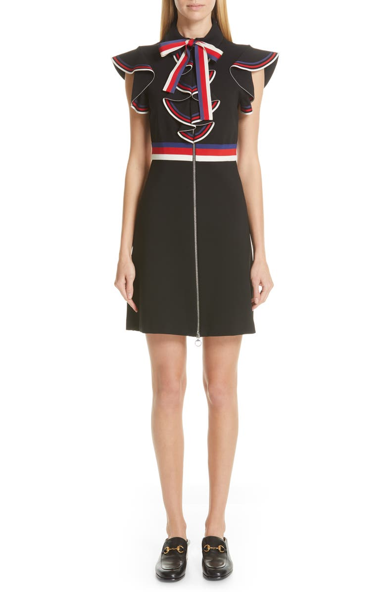GUCCI Sylvie Web Ruffle Stretch Jersey Dress, Main, color, BLACK/BLUE/RED/WHITE