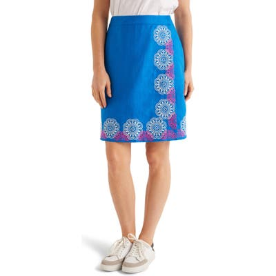 Boden Anville Embroidered Wrap Skirt, Blue