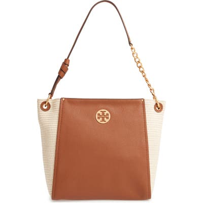 Tory Burch Everly Leather & Straw Hobo - Brown