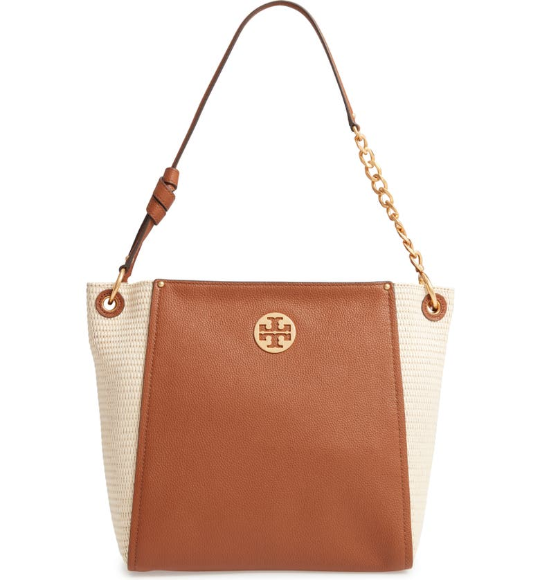 TORY BURCH Everly Leather & Straw Hobo, Main, color, NATURAL / LIGHT UMBER