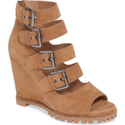 Linea Paolo Wisteria Buckle Wedge Sandal, Brown