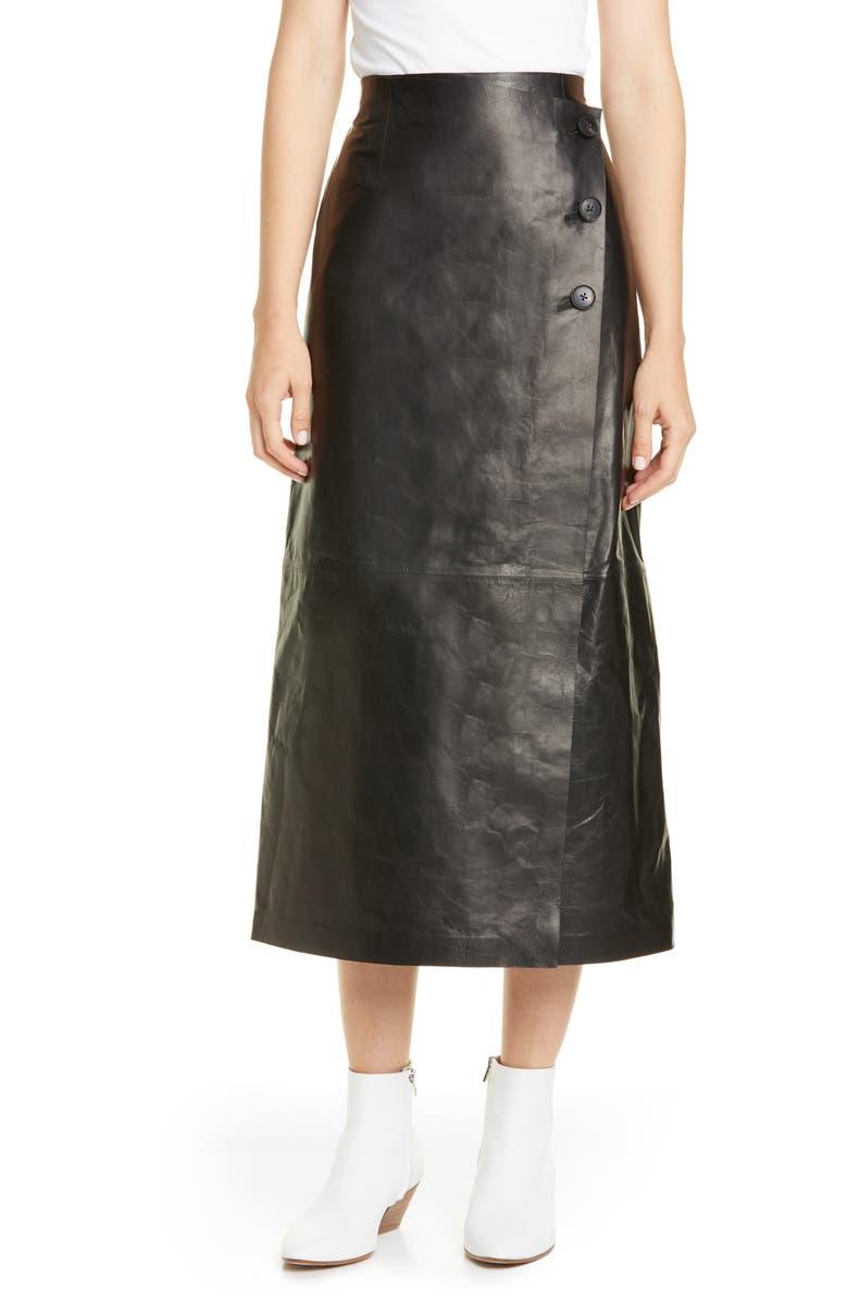 LAFAYETTE 148 NEW YORK Leyla Lambskin Leather Midi Skirt, Main, color, BLACK
