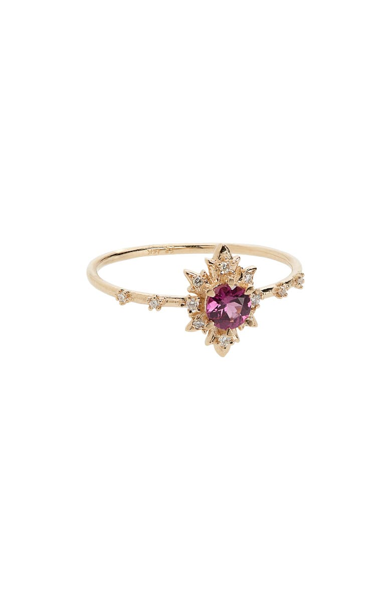 SOFIA ZAKIA Spectral Termina Rhodolite & Diamond Ring, Main, color, GOLD