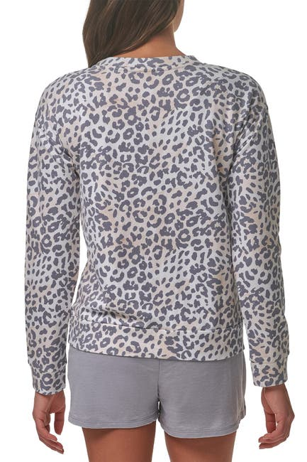 Image of MARC NEW YORK PERFORMANCE Leopard Drop Shoulder Sleeve Sweatshirt