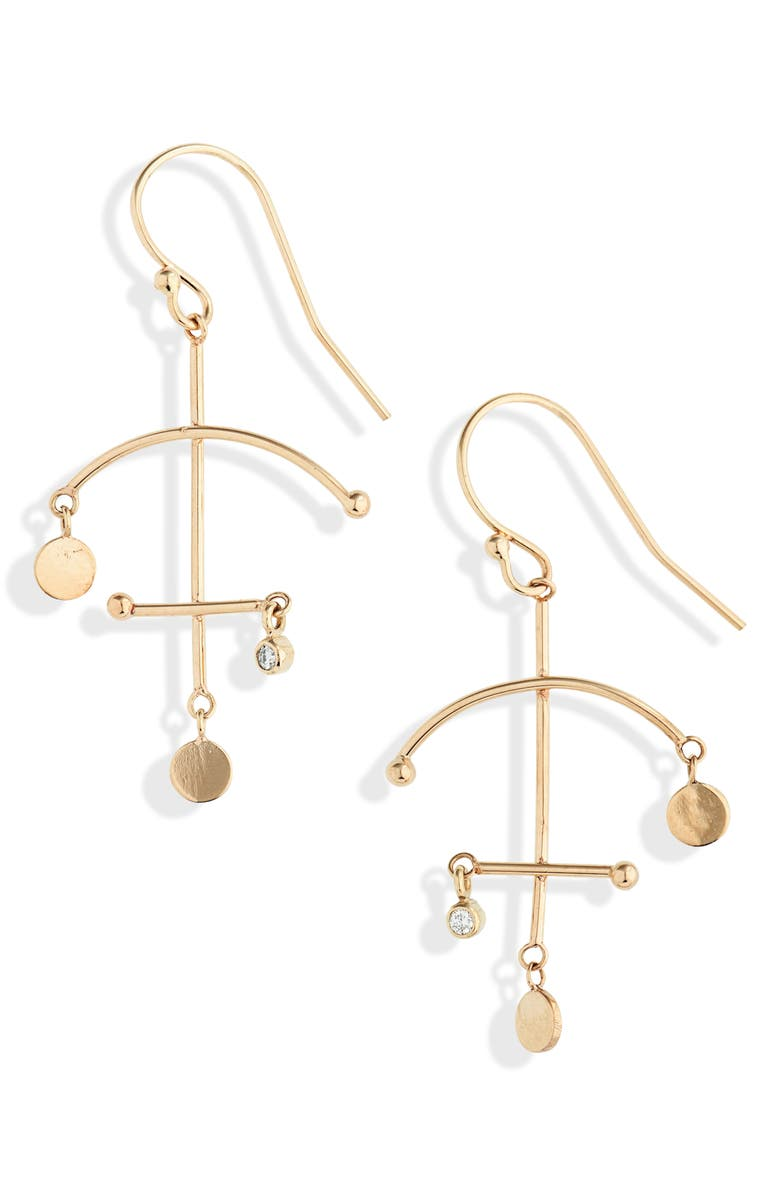 ZOË CHICCO Small Mobile Earrings, Main, color, DIAMOND/ YELLOW GOLD