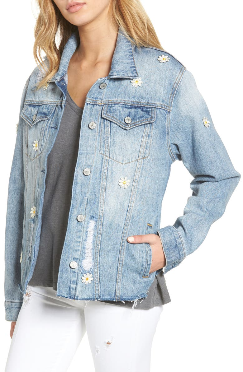 RAILS Loretta Daisy Appliqué Denim Jacket, Main, color, 495