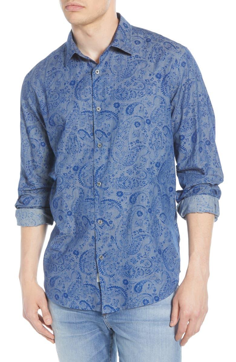 COASTAORO Pawan Regular Fit Paisley Button-Up Shirt, Main, color, DENIM