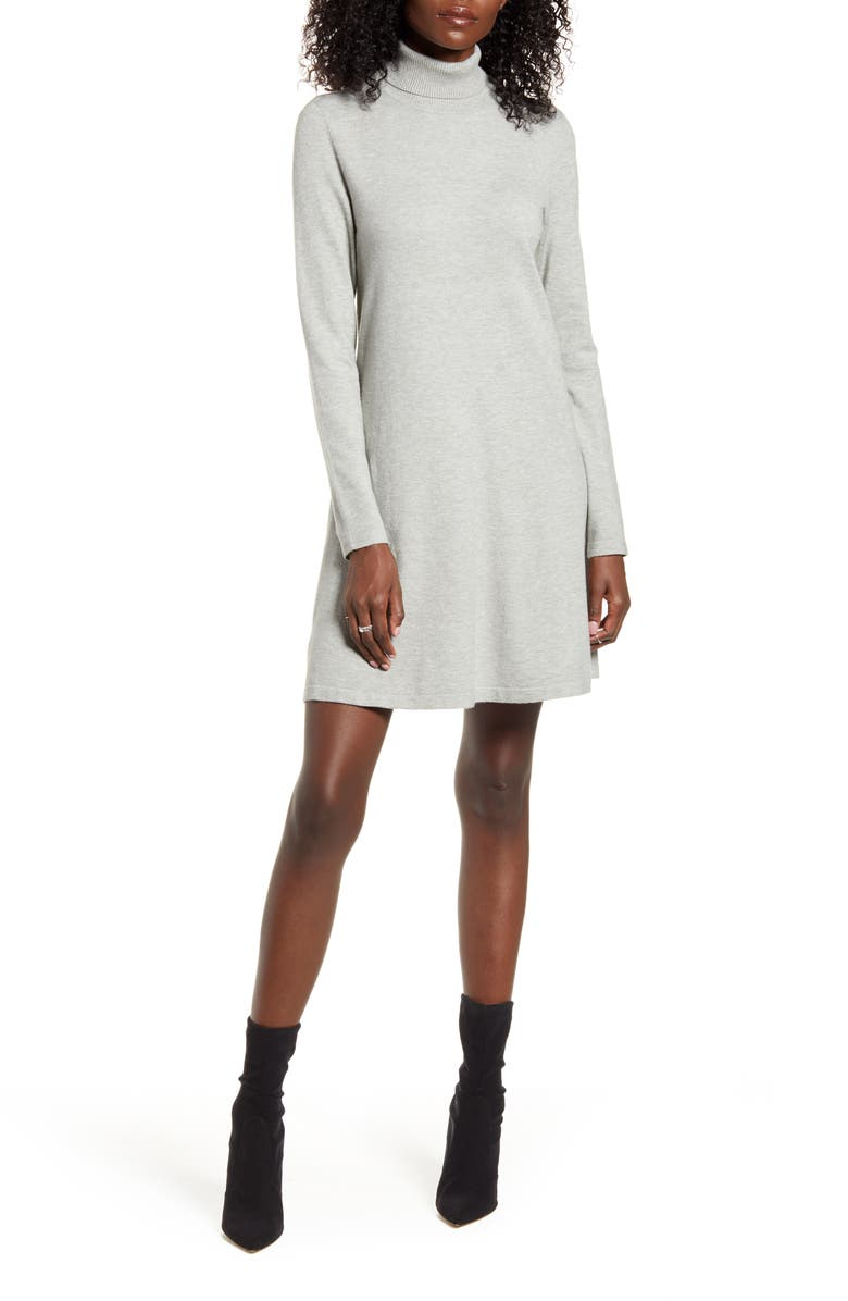 VERO MODA Happy Roll Neck Long Sleeve A-Line Sweater Dress, Main, color, LIGHT GREY MELANGE