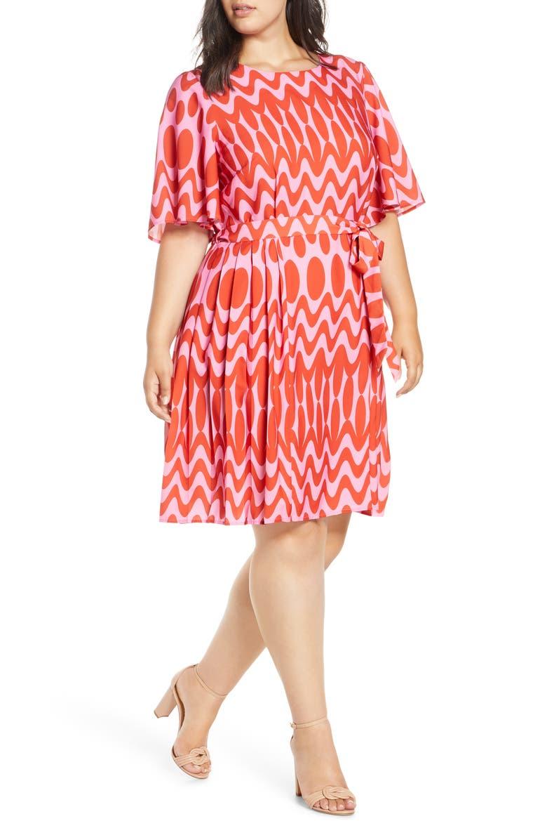 ELOQUII Flutter Sleeve Side Pleat Dress, Main, color, SOMEWHERE