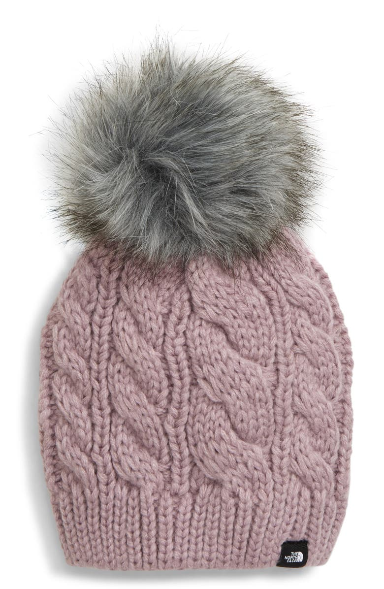 THE NORTH FACE Oh-Mega Knit Beanie with Faux Fur Pompom, Main, color, 500