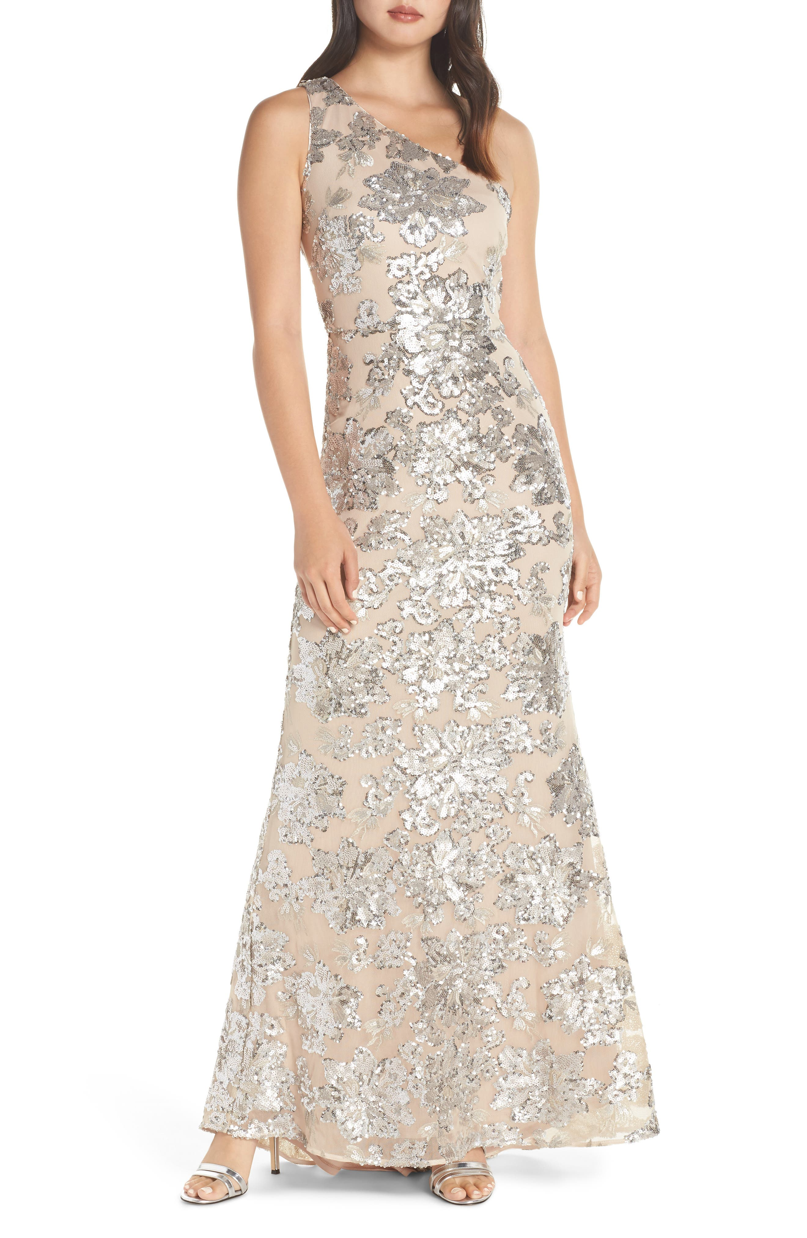 One-Shoulder Sequin Chiffon Evening Dress, Main, color, SILVER