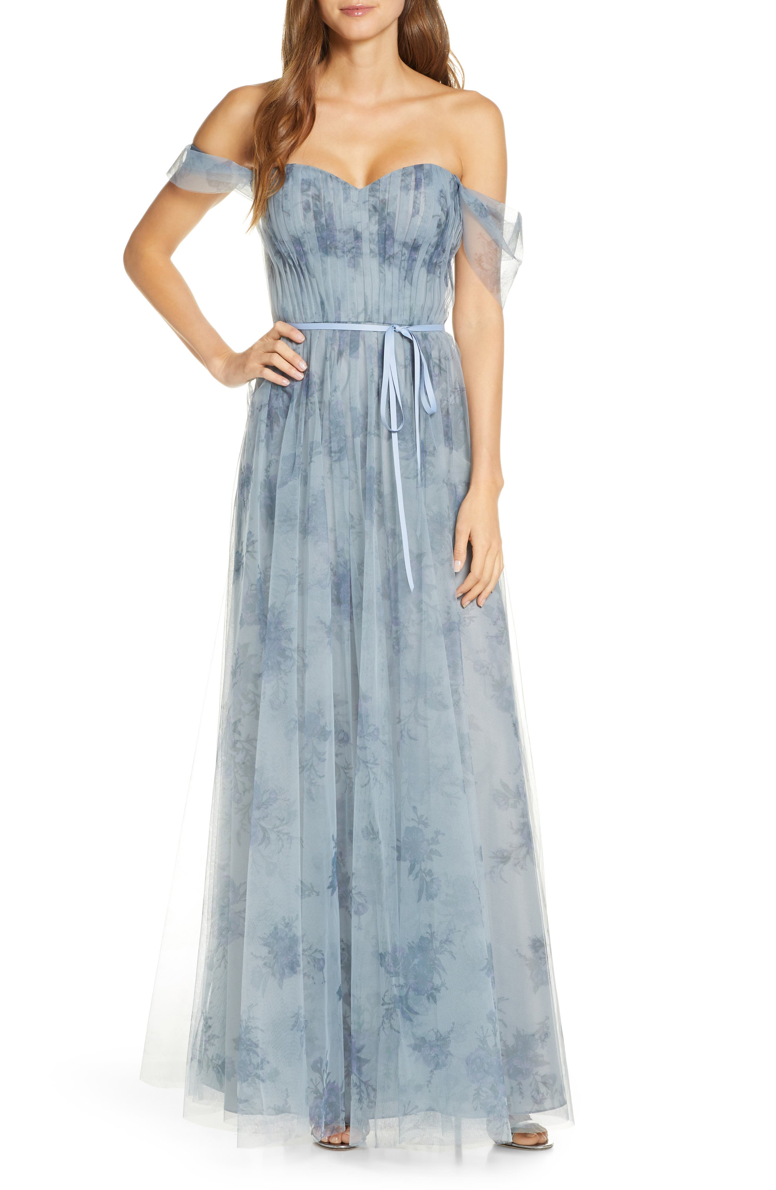Marchesa Notte Off the Shoulder Floral Tulle Bridesmaid Gown