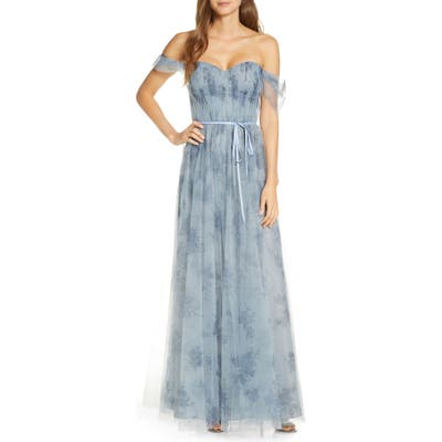 Marchesa Notte Off The Shoulder Floral Tulle Bridesmaid Gown, Blue