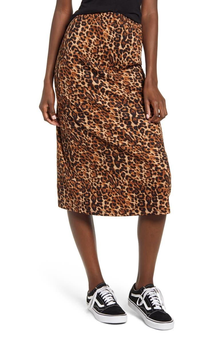 GOOD LUCK GEM Ribbed Leopard Print Midi Skirt, Main, color, LEOPARD