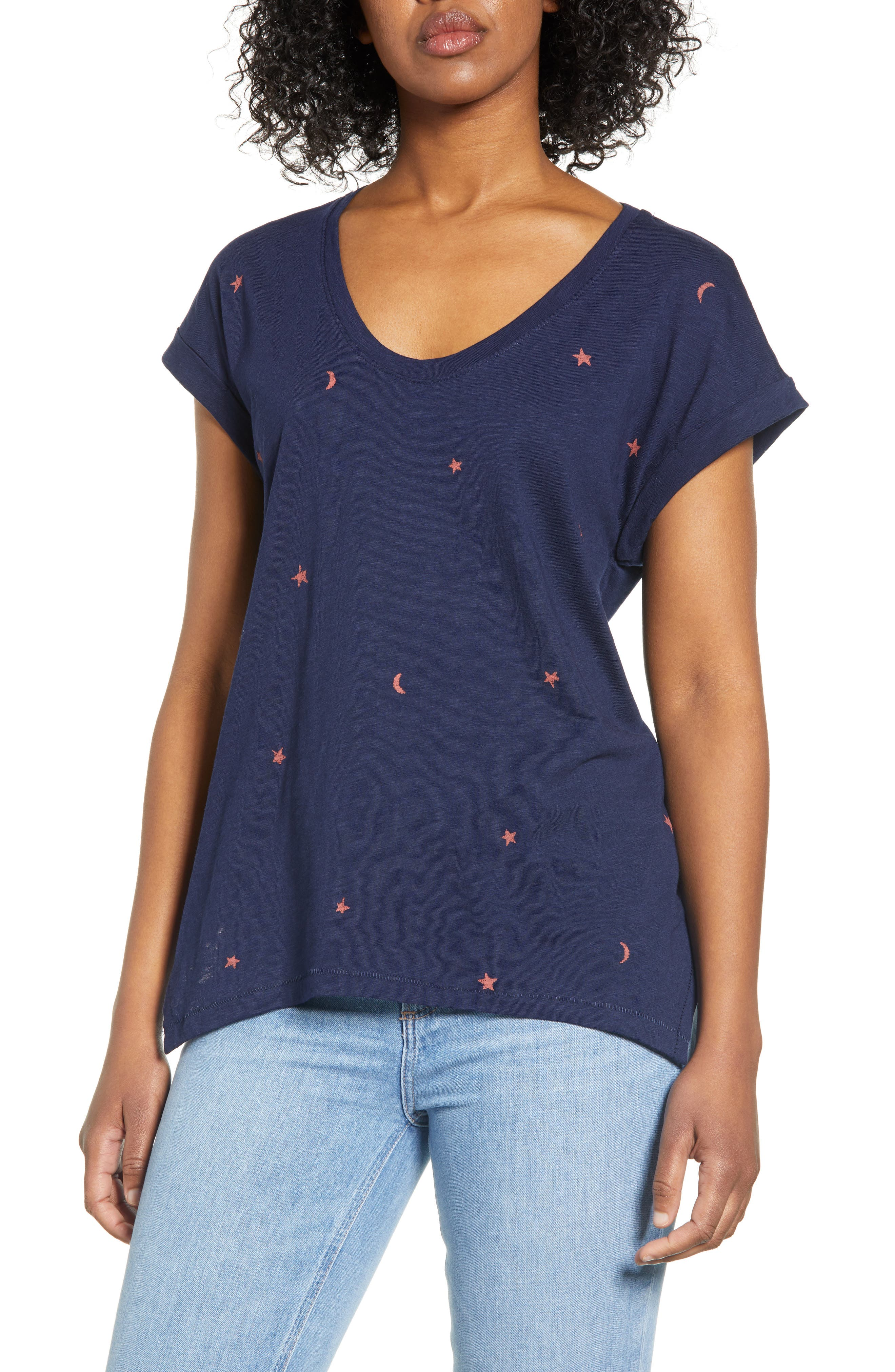 With a screenprinted pattern of moons and stars, this flowy, wear-everywhere tee is worth wishing for. Style Name: Wit & Wisdom Celestial Screen Print Cotton Blend Tee (Nordstrom Exclusive). Style Number: 5922248. Available in stores.