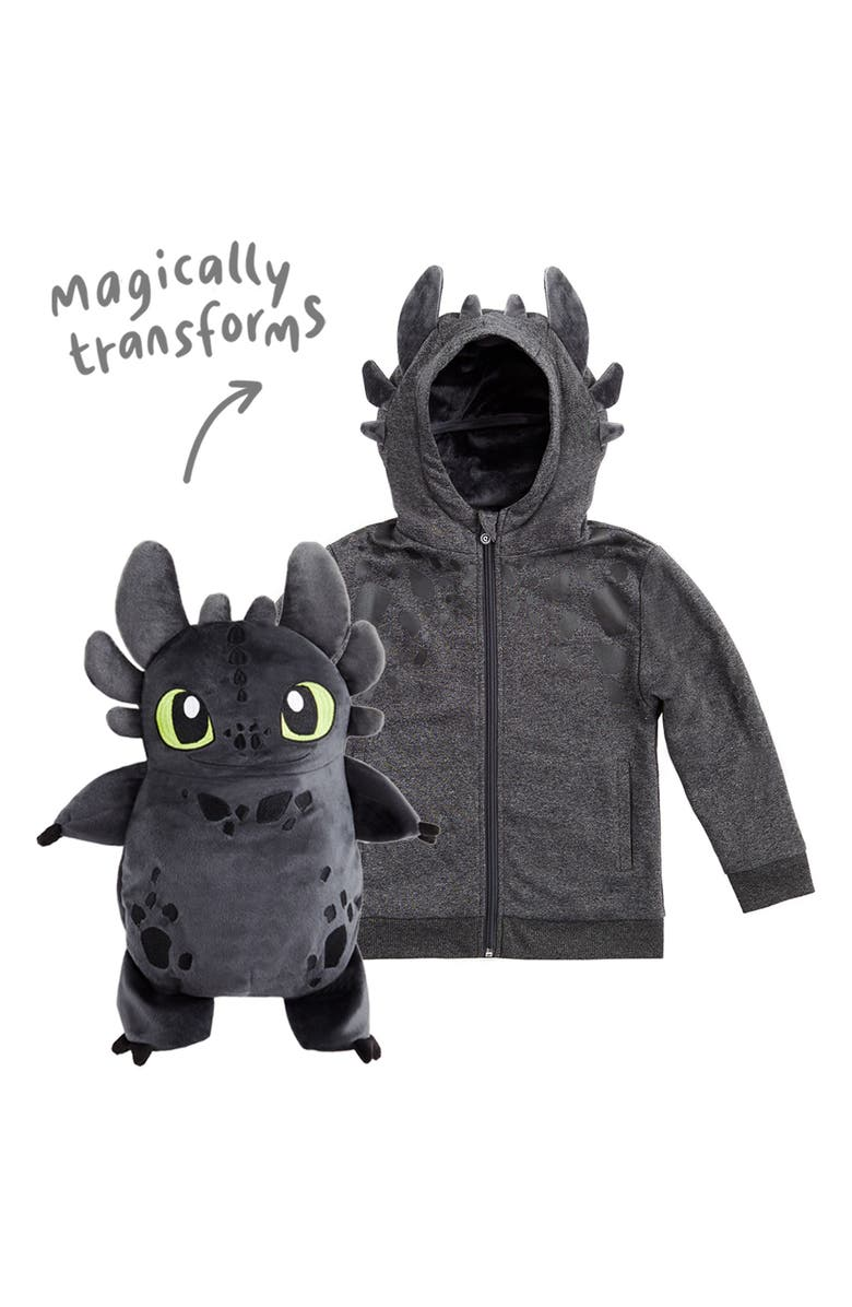 CUBCOATS x DreamWorks<sup>®</sup> How to Train Your Dragon<sup>™</sup> Toothless 2-in-1 Stuffed Animal Hoodie, Main, color, GREY