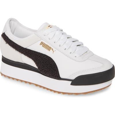 Puma Roma Amor Heritage Boucle Platform Sneaker- White