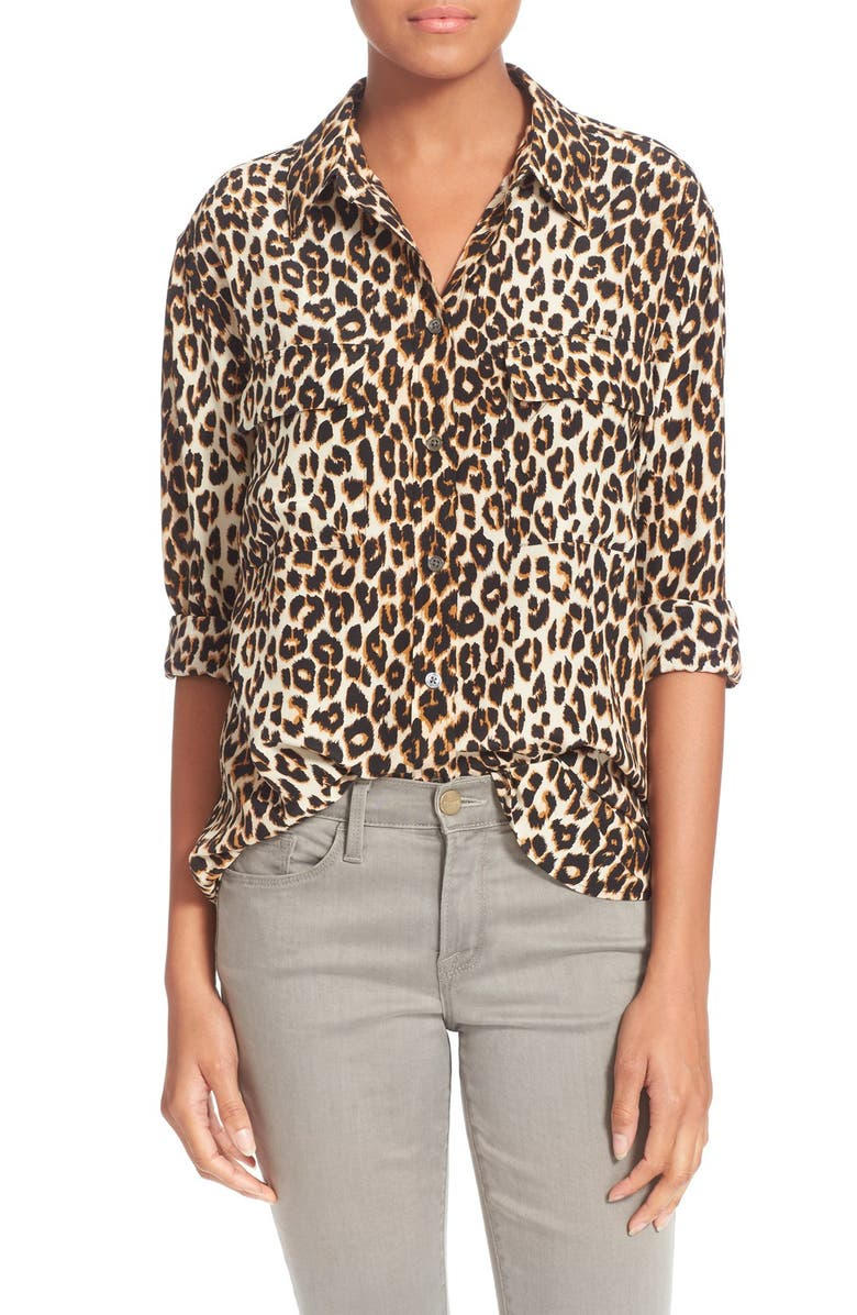EQUIPMENT 'Slim Signature' Silk Shirt, Main, color, NATURAL